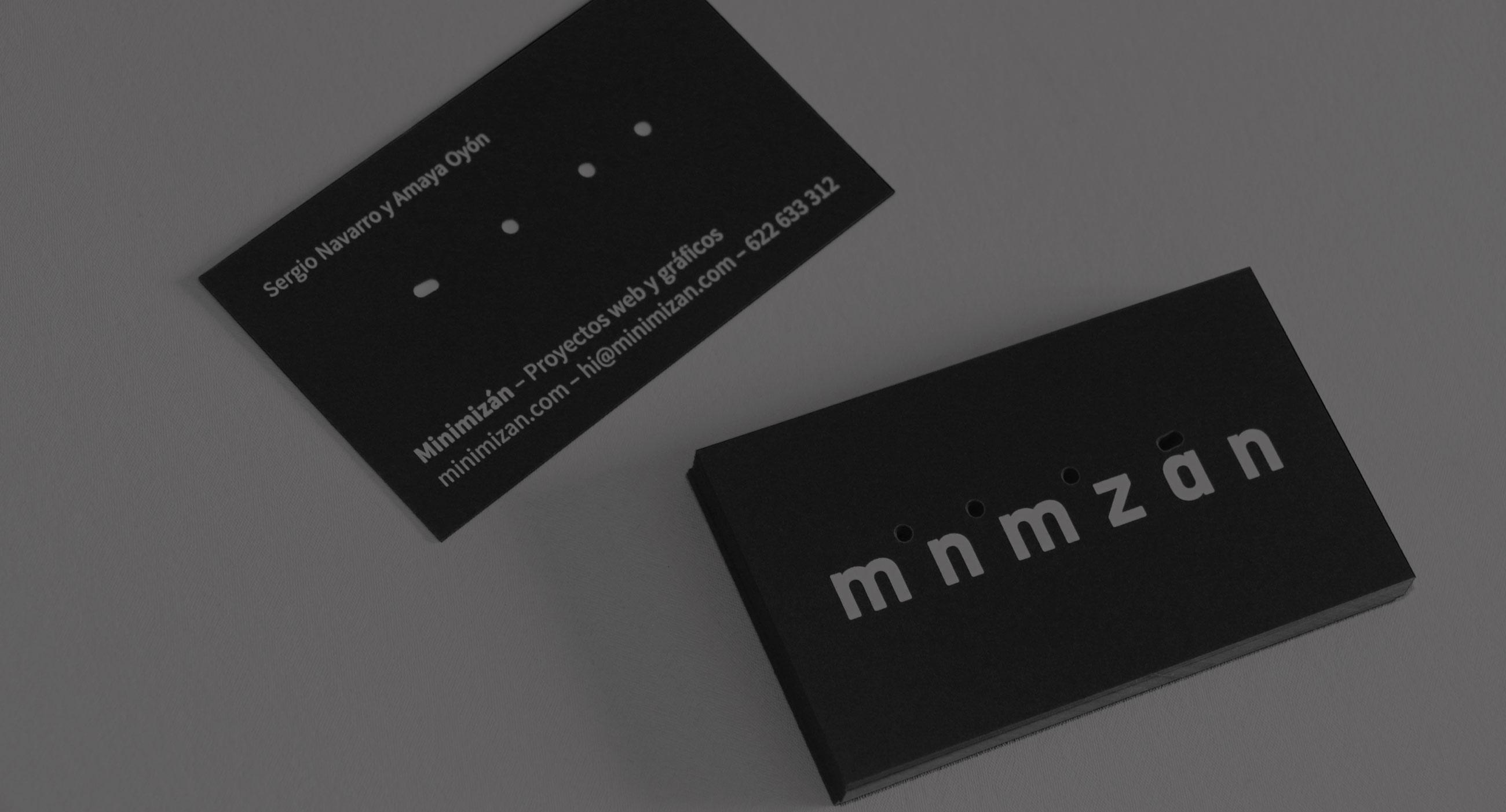 diseño de tarjetas corporativas de Minimizán vista anverso y reverso