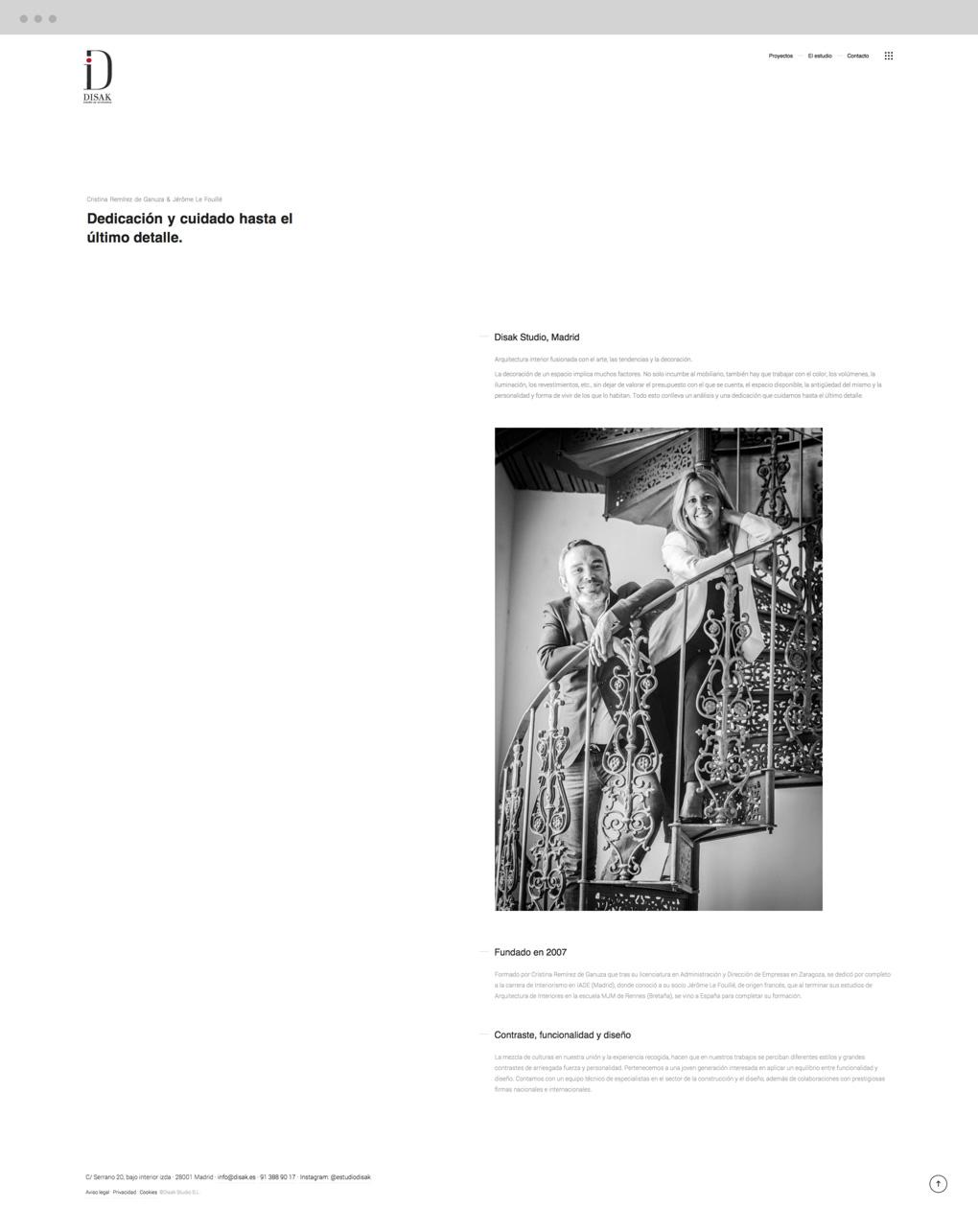 presentación de diseño y programacion de pagina web para Disak Estudio dedicado al diseno de interiores de lujo presentación de sección nosotros