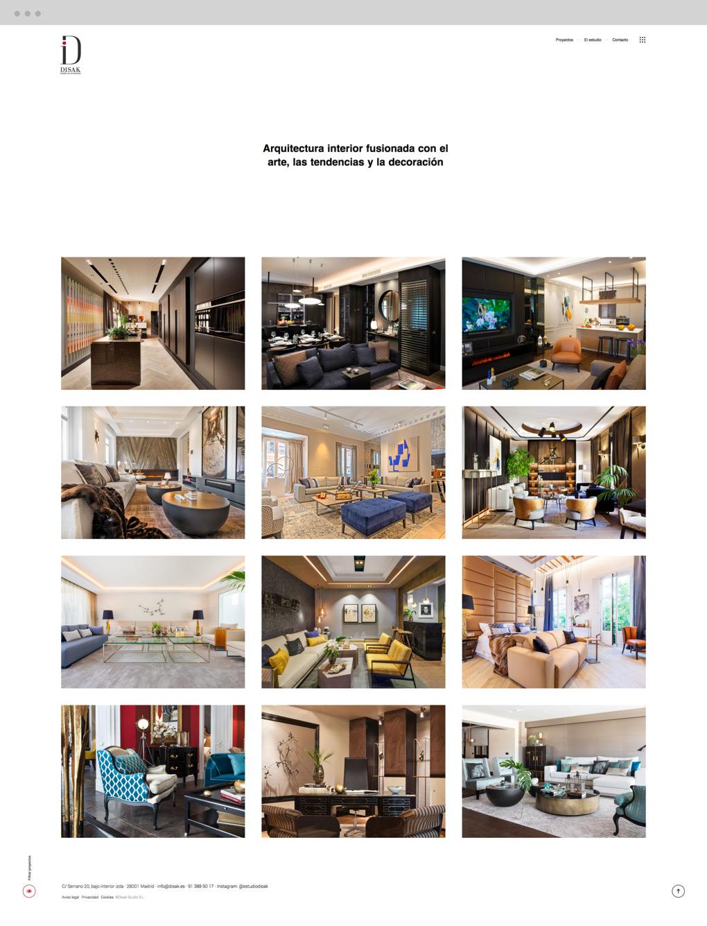 presentación de diseño y programacion de pagina web para Disak Estudio dedicado al diseno de interiores de lujo presentación de sección proyectos