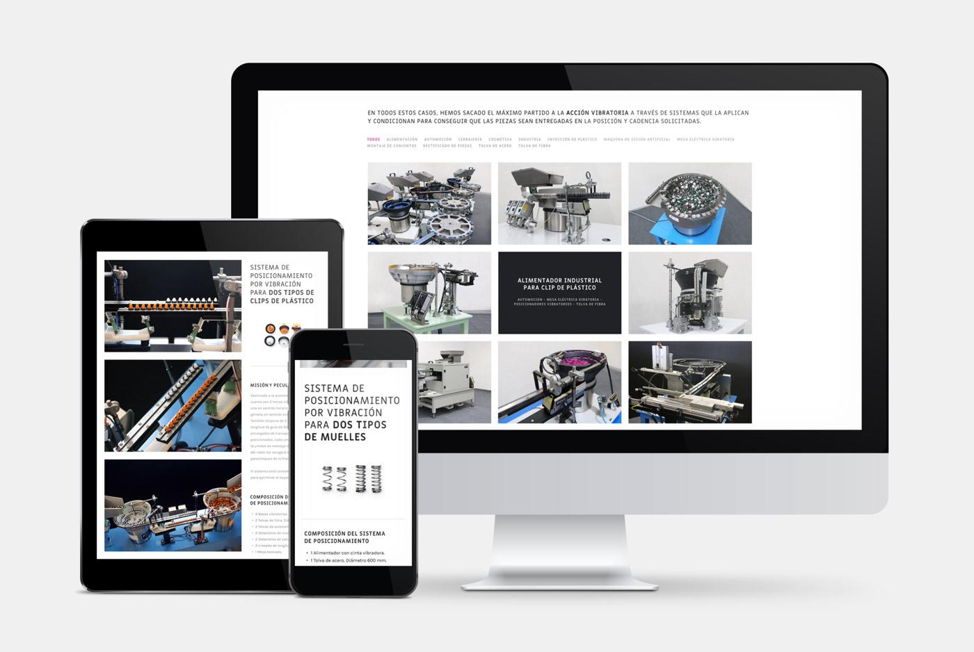 rediseño de página web sección Producto en multidispositivos para MDV