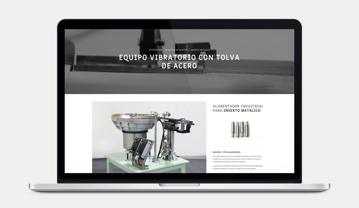rediseño de página web sección Producto en portatil para MDV