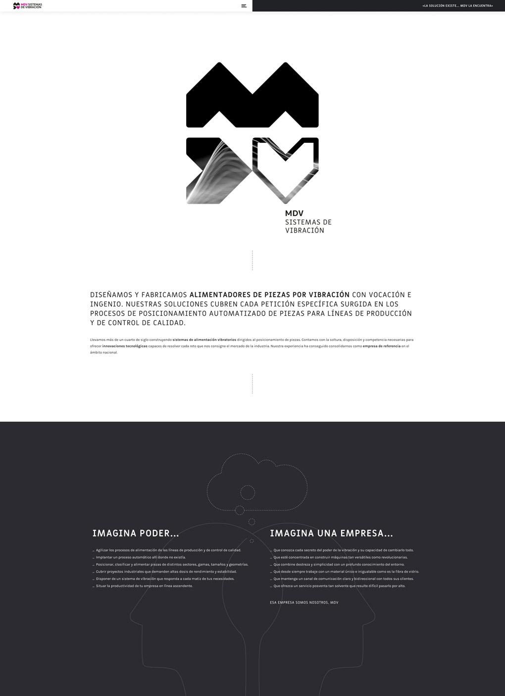 rediseño de página web seccion Landing Page para MDV