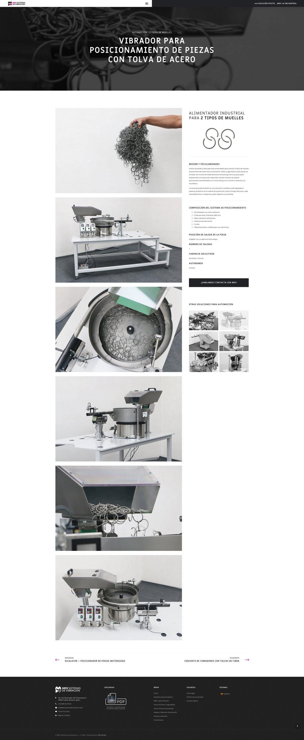 rediseño de página web sección Producto para MDV