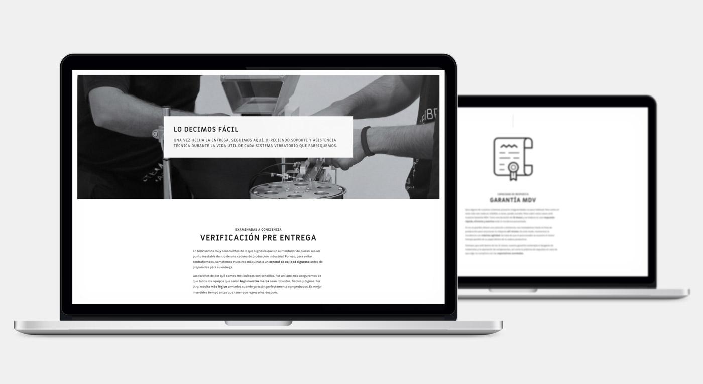 rediseño de página web sección Garantía en portátiles para MDV