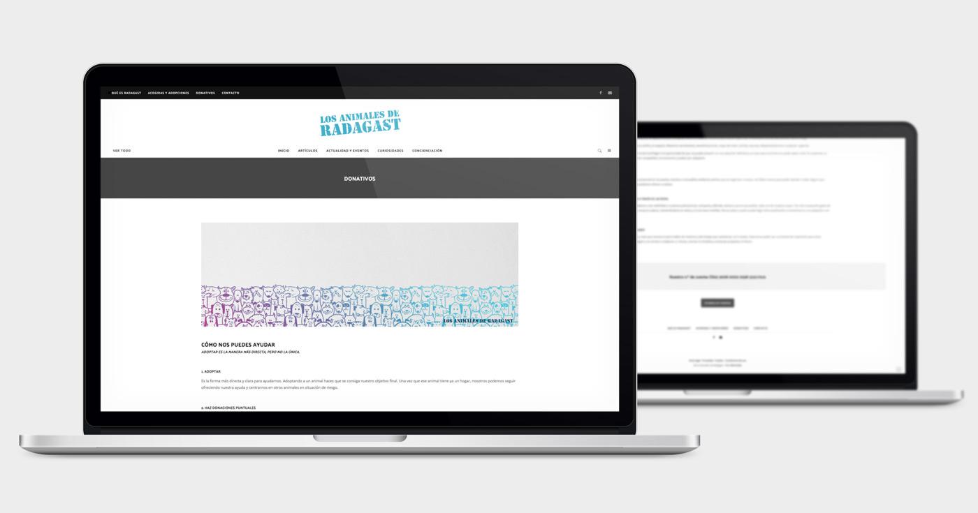 presentación de diseño de magazine electrónico dedicado a los animales y la naturaleza presentado en dos portátiles