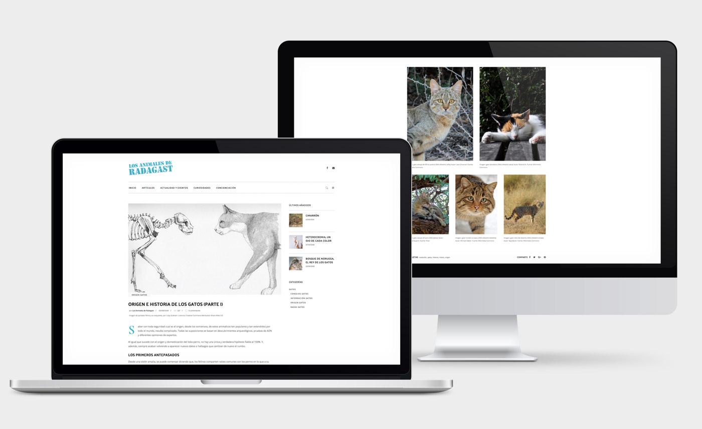 presentación de diseño de magazine electrónico dedicado a los animales y la naturaleza presentado en un portátil y en un desktop