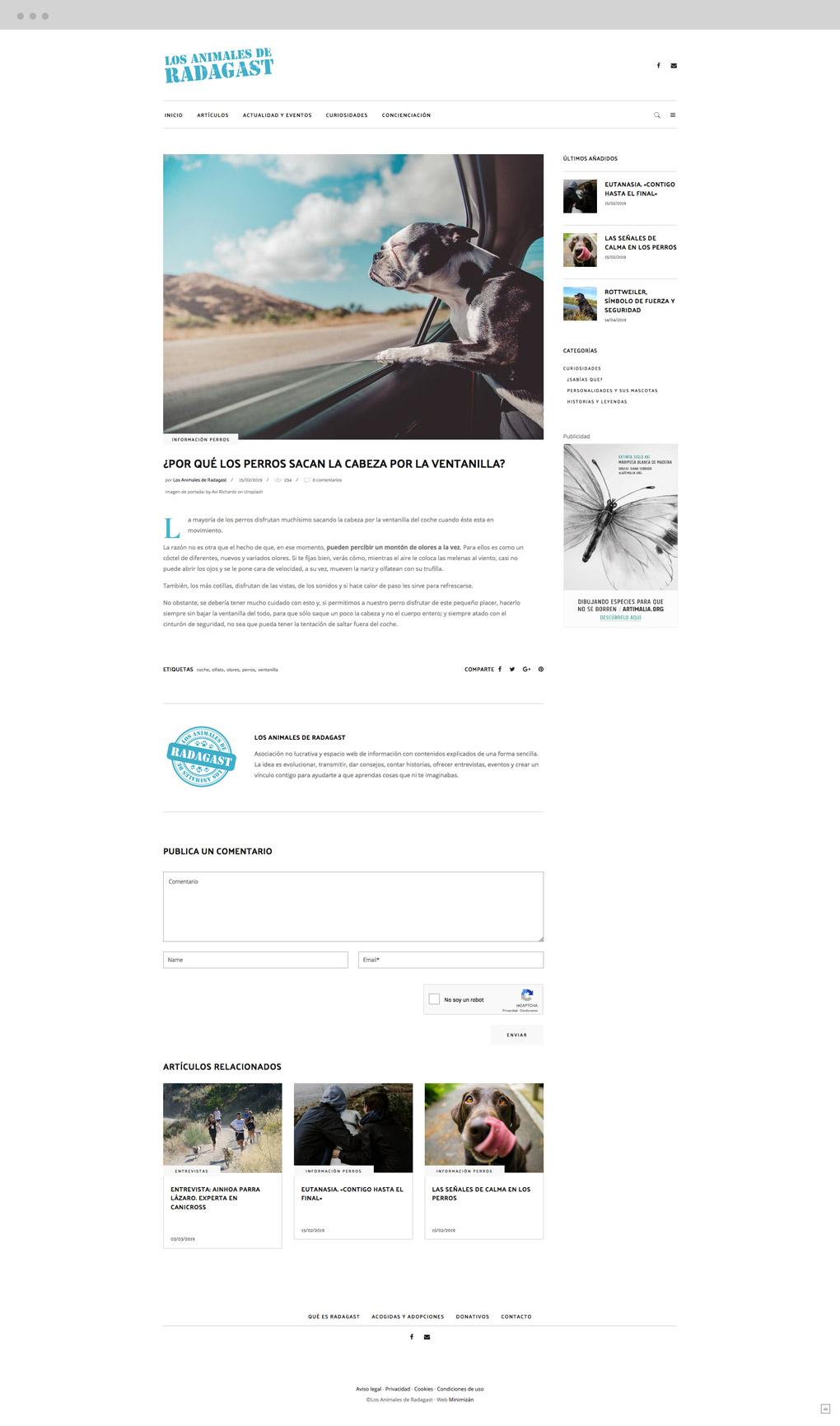 presentación de diseño de magazine electrónico dedicado a los animales y la naturaleza presentación de un artículo-post