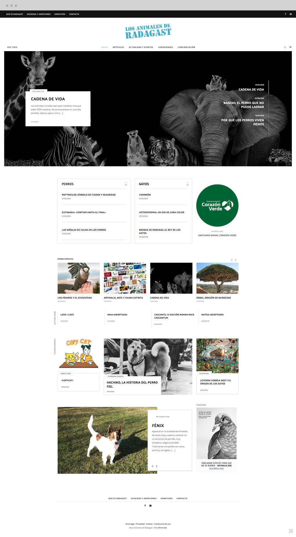 presentación de diseño de magazine electrónico dedicado a los animales y la naturaleza pantalla de inicio