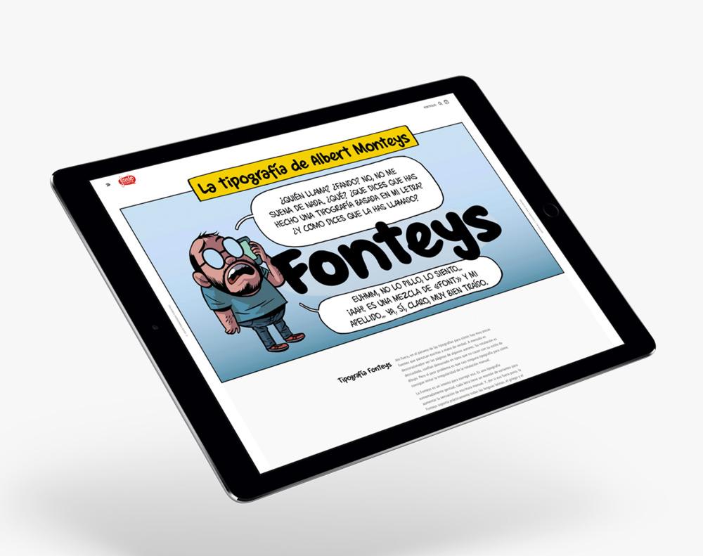 presentación diseño e-commerce Fando Fonts en ipad