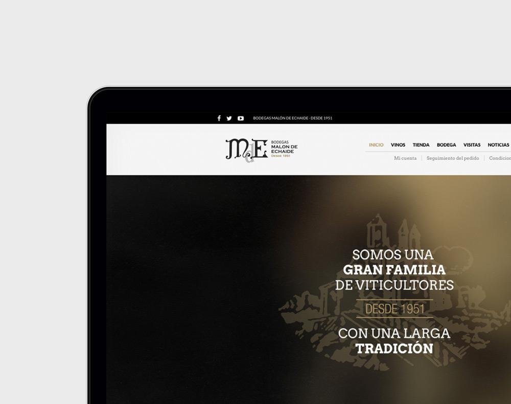 presentación de rediseño de tienda online para Malón de Echaide en laptop detalle de slide inicio