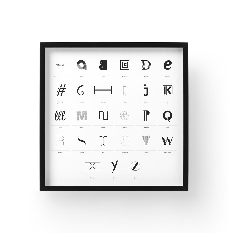 diseño de lámina Alphabet by Minimizán presentación de lámina alfabeto completo enmarcada