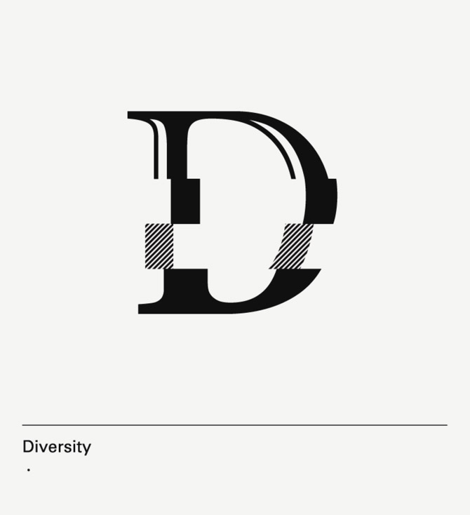 diseño de lámina Alphabet by Minimizán letra D