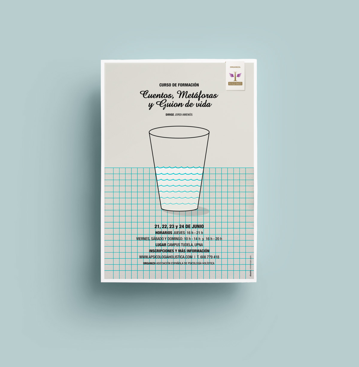 presentación de diseño de cartel para evento de Asociación Nacional de Psicología Holística