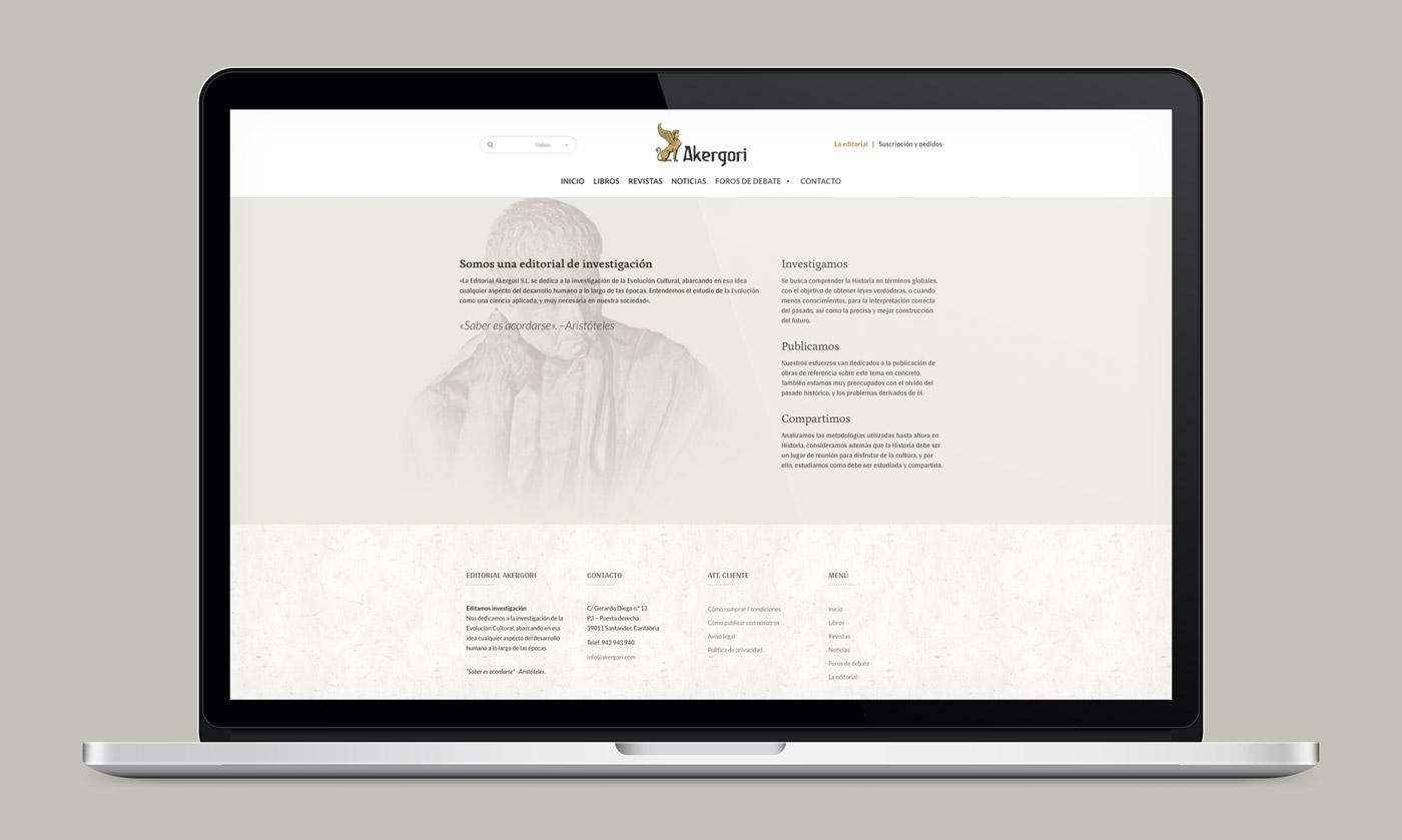 diseño de layout responsivo en laptop para la web Editorial Akergori de Germán Cabello Catena