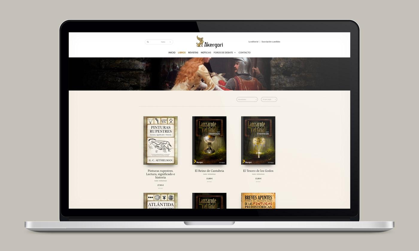 muestra la tienda online en laptop de Editorial Akergori de Germán Cabello Catena