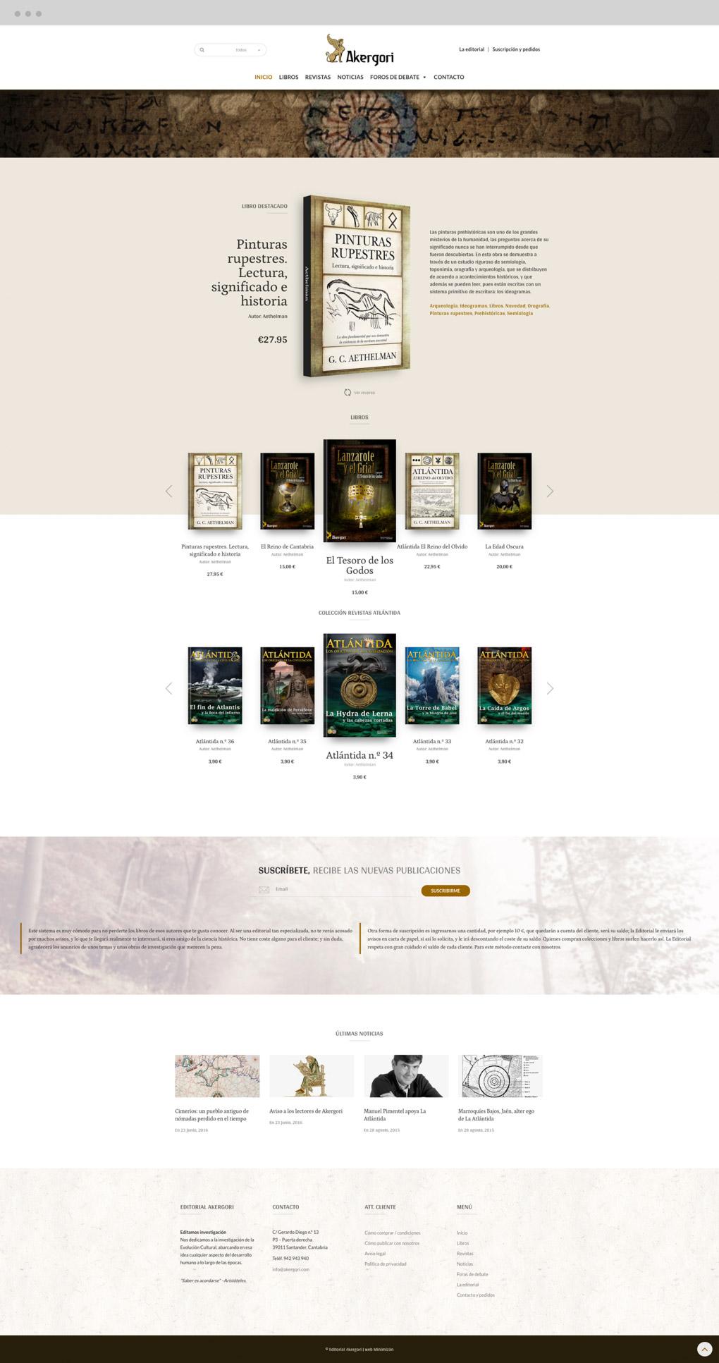 muestra la pantalla Inicio del rediseño web de Editorial Akergori de Germán Cabello Catena