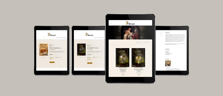 presentación responsiva en ipad de diseño de Editorial Akergori de Germán Cabello Catena