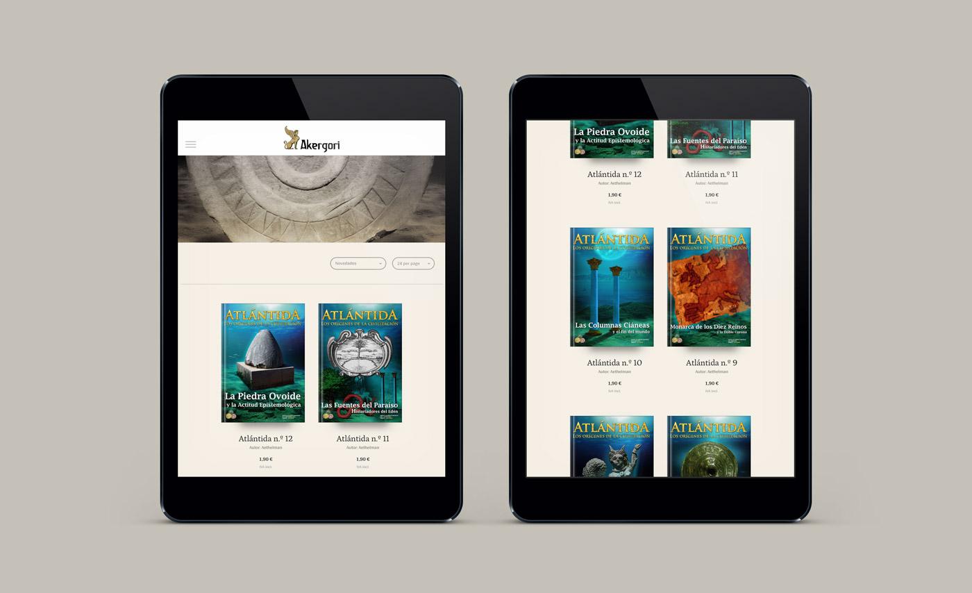 diseño de layout responsivo en ipad para la web Editorial Akergori de Germán Cabello Catena