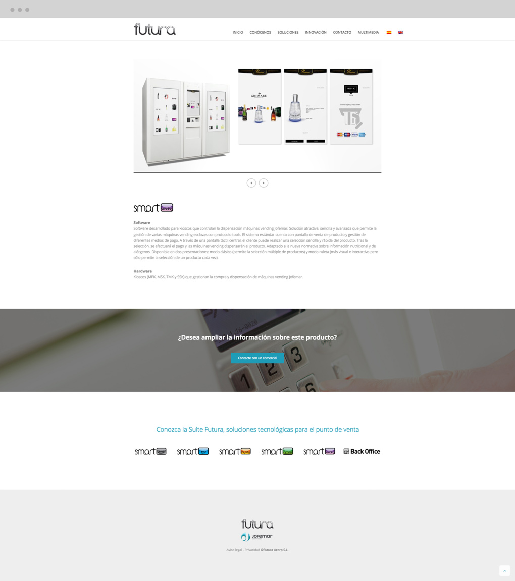presentación de rediseno de pagina web para empresa dedicada al desarrollo de soluciones tecnologicas de Jofemar página de productos
