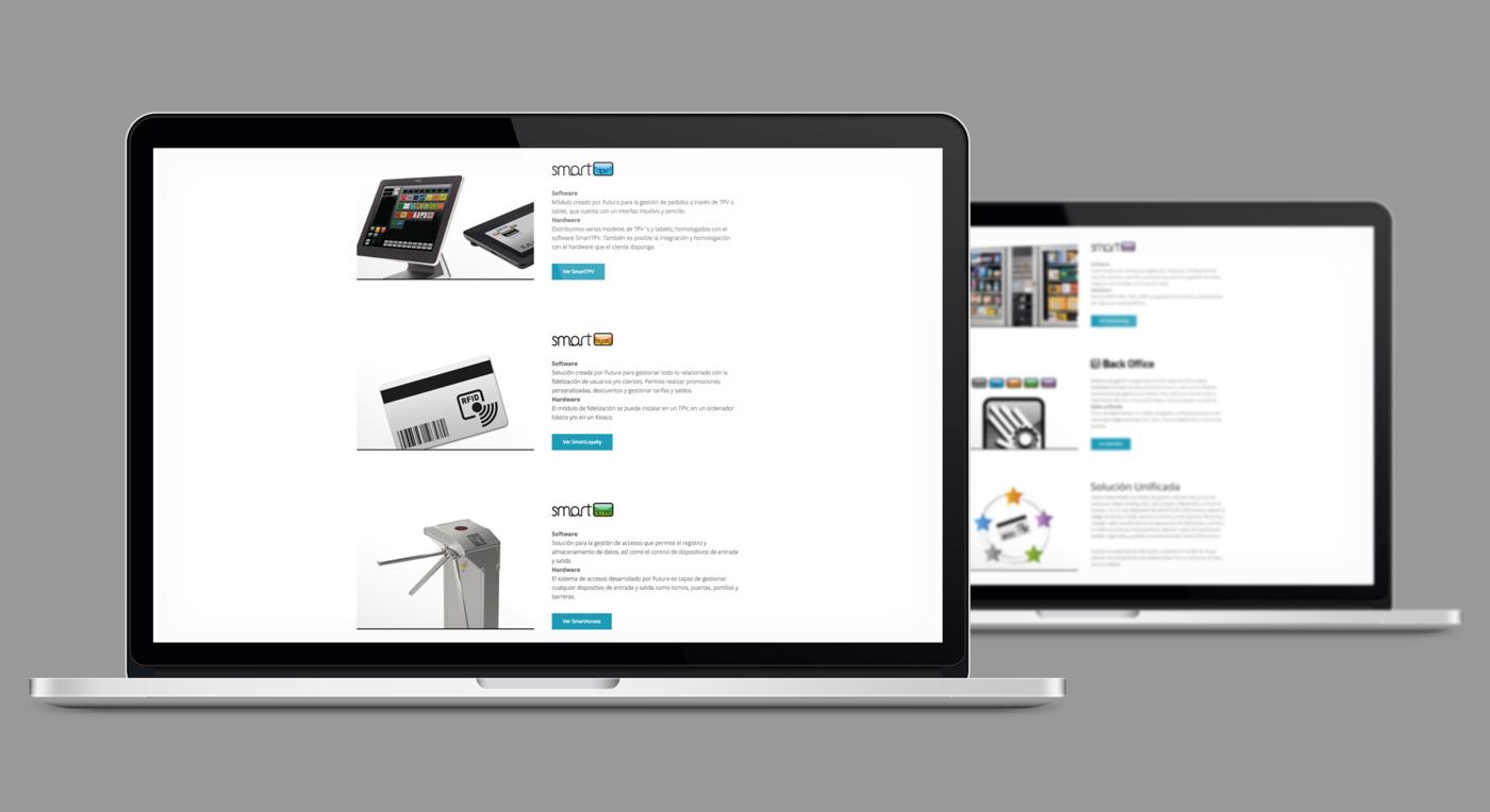 presentación de rediseno de pagina web para empresa dedicada al desarrollo de soluciones tecnologicas de Jofemar en 2 laptops