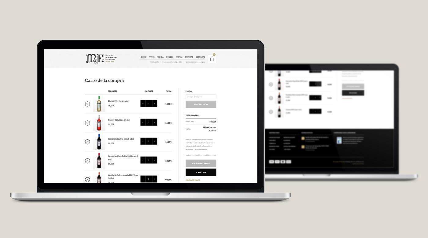 presentación de rediseño de tienda online para Malón de Echaide en laptops