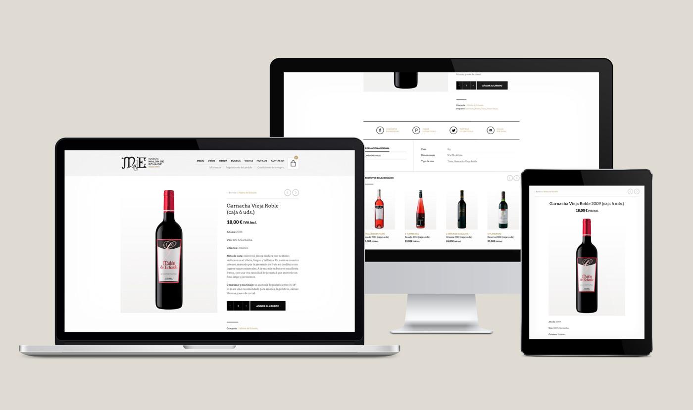presentación de rediseño de tienda online para Malón de Echaide en varios dispositivos