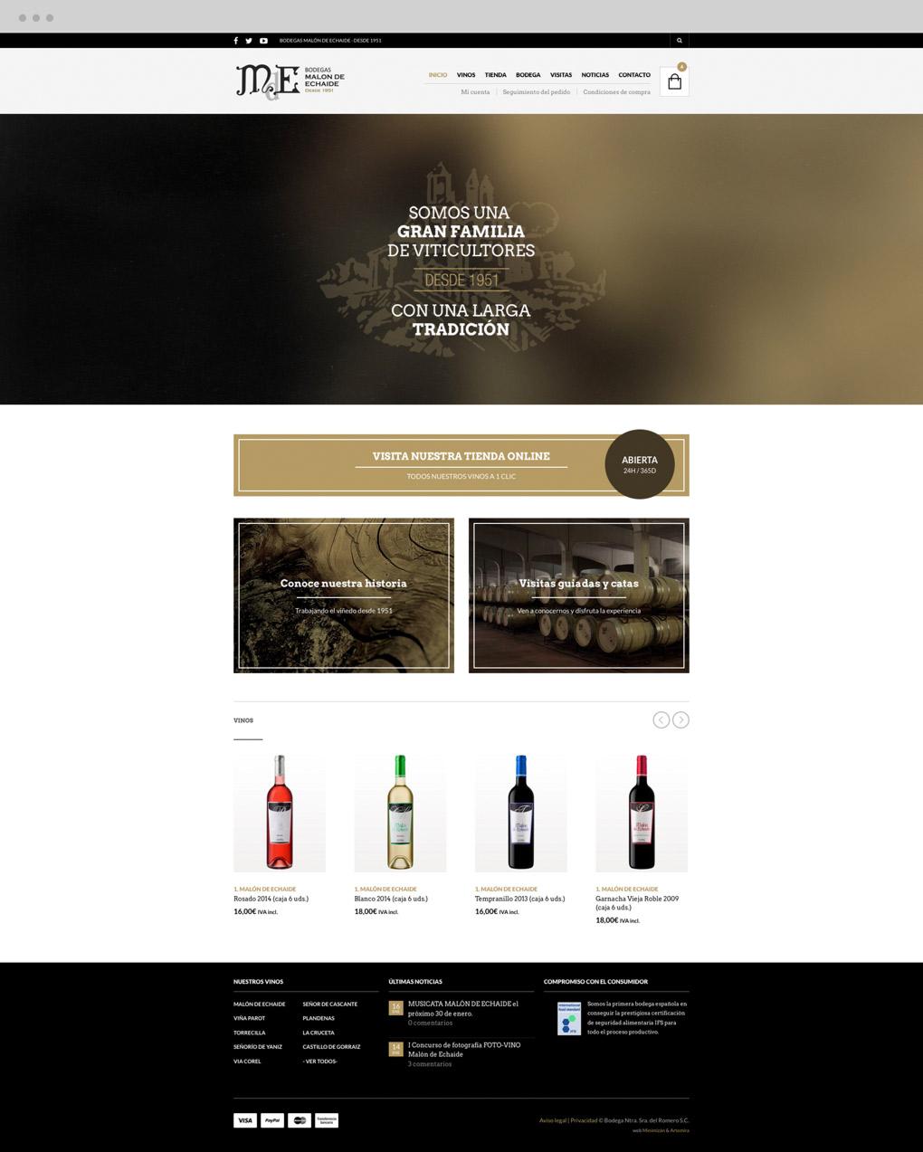 presentación de rediseño de tienda online para Malón de Echaide sección inicio