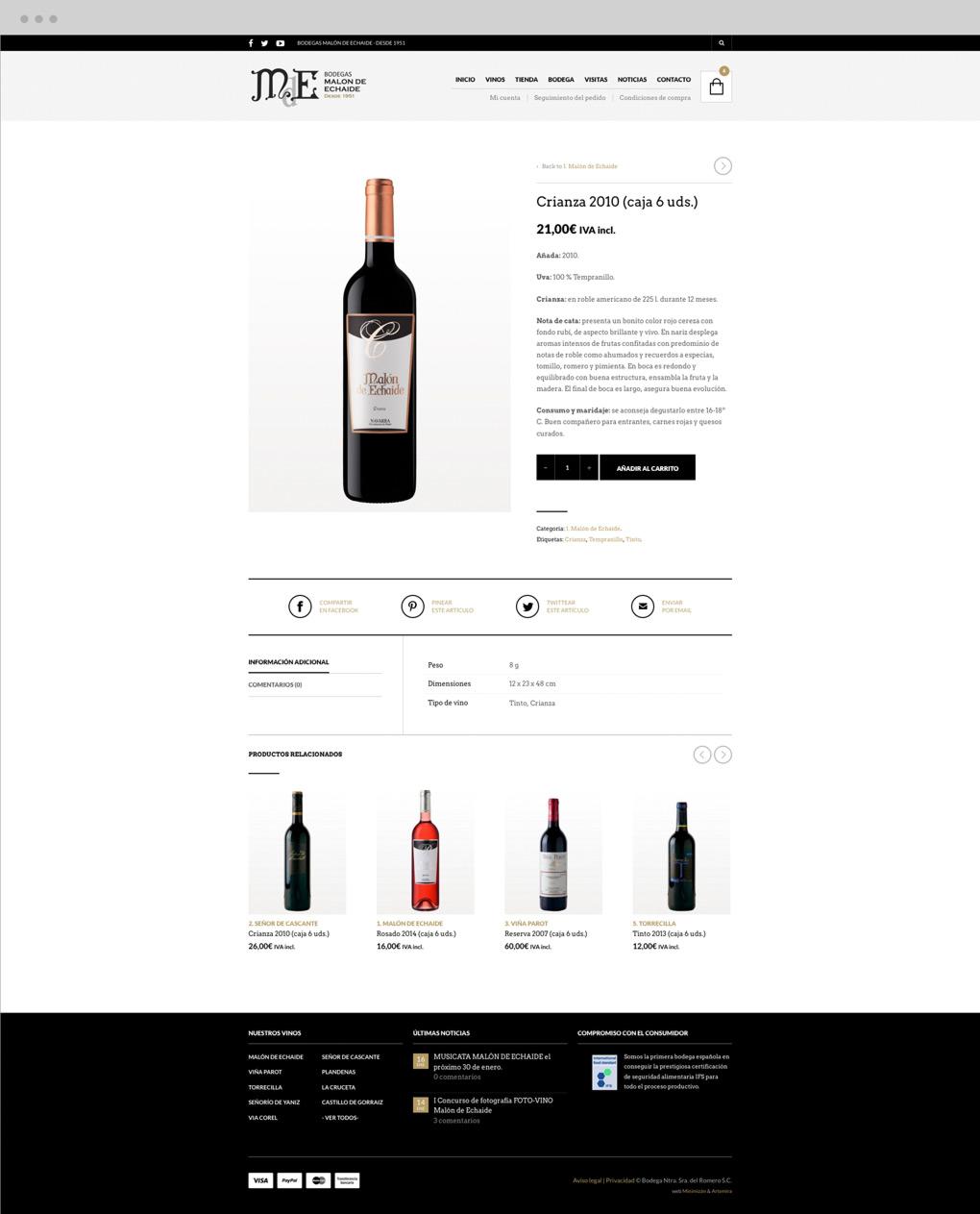 presentación de rediseño de tienda online para Malón de Echaide sección producto