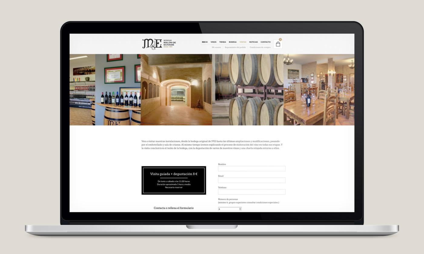 presentación de rediseño de tienda online para Malón de Echaide en portátil
