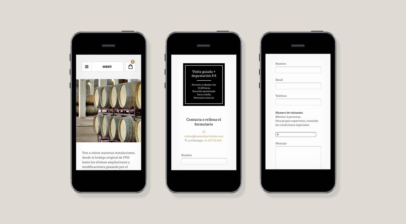 presentación de rediseño de tienda online para Malón de Echaide en móviles
