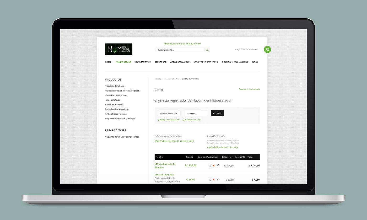 presentación diseño e-commerce NVM en laptop