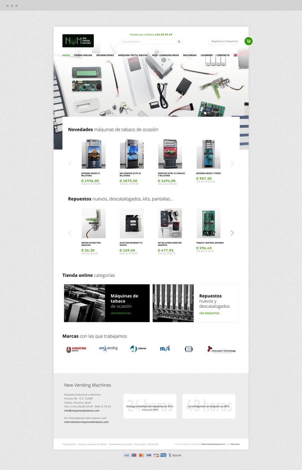 presentación de diseño de pantalla de inicio tienda online NVM