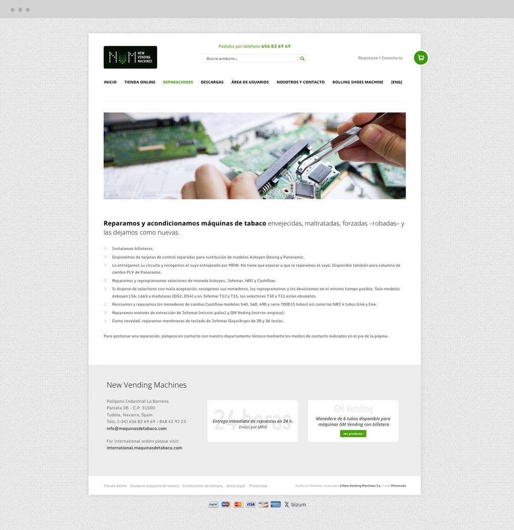 presenación de diseño web de pantalla de servicio de reparación en NVM