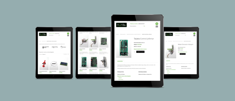presentación diseño e-commerce NVM en 4 ipads