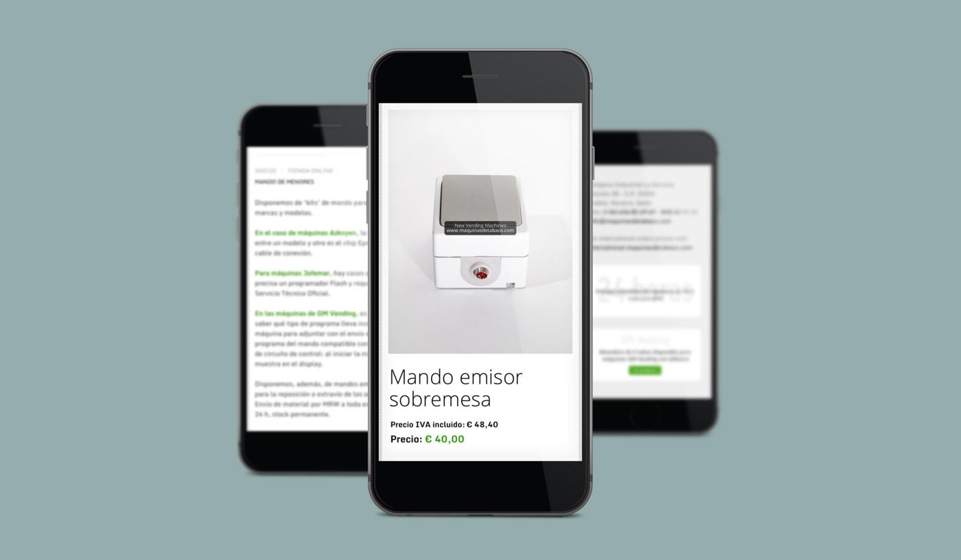 presentación diseño e-commerce NVM en smartphone