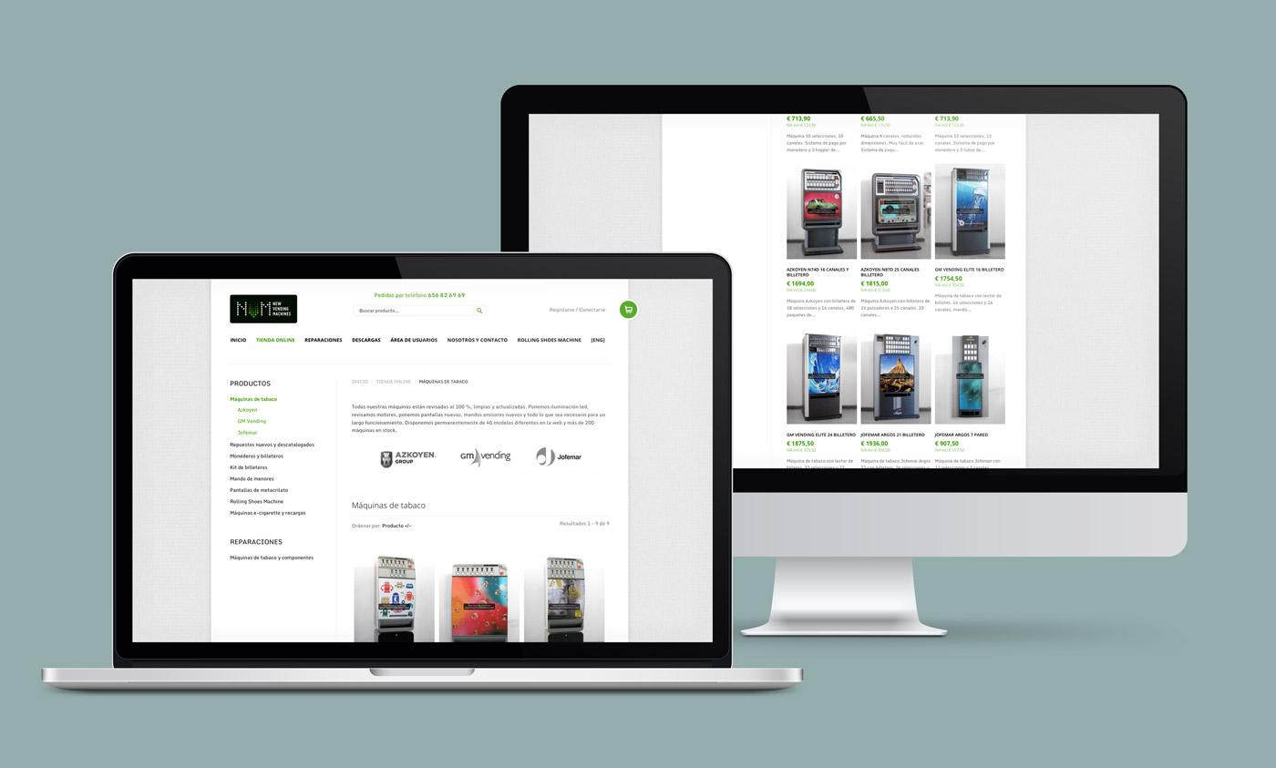 presentación diseño e-commerce NVM en laptop y desktop