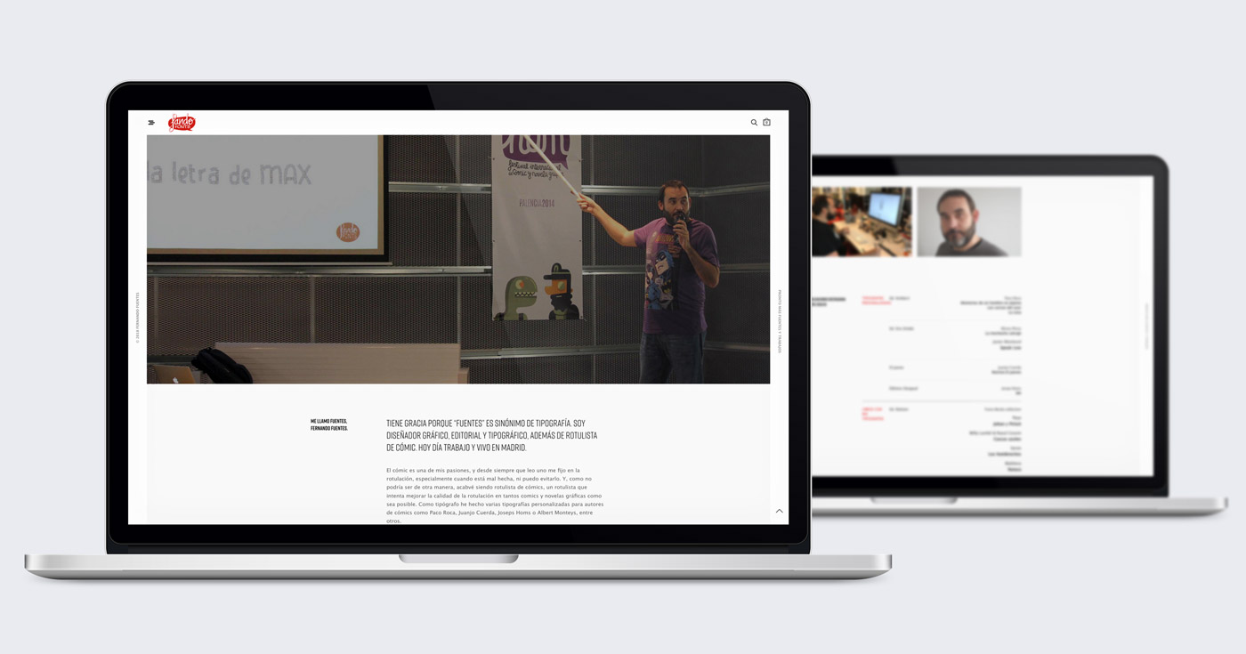 presentación diseño e-commerce Fando Fonts en laptops sección autor