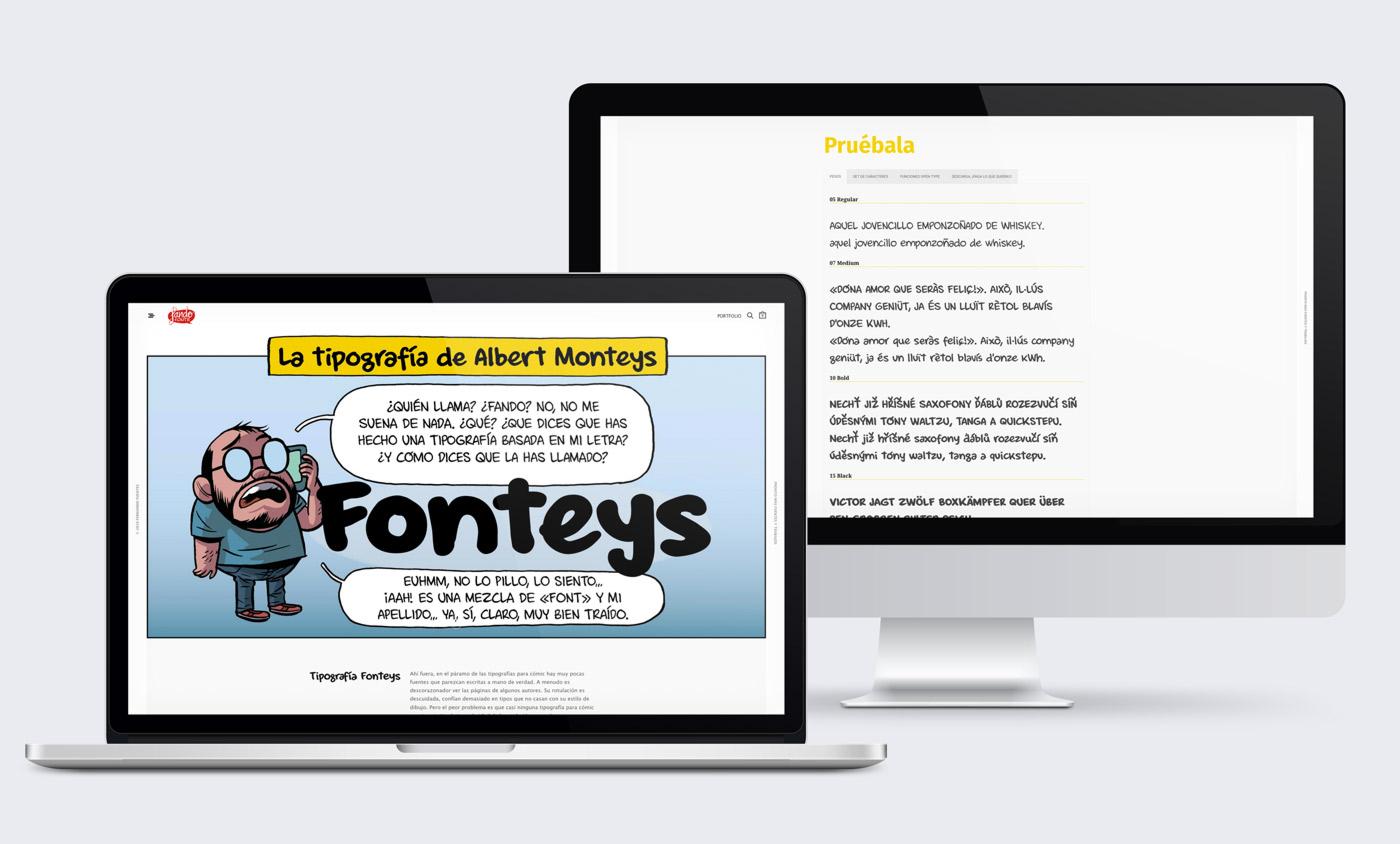 presentación diseño e-commerce Fando Fonts en laptop y desktop