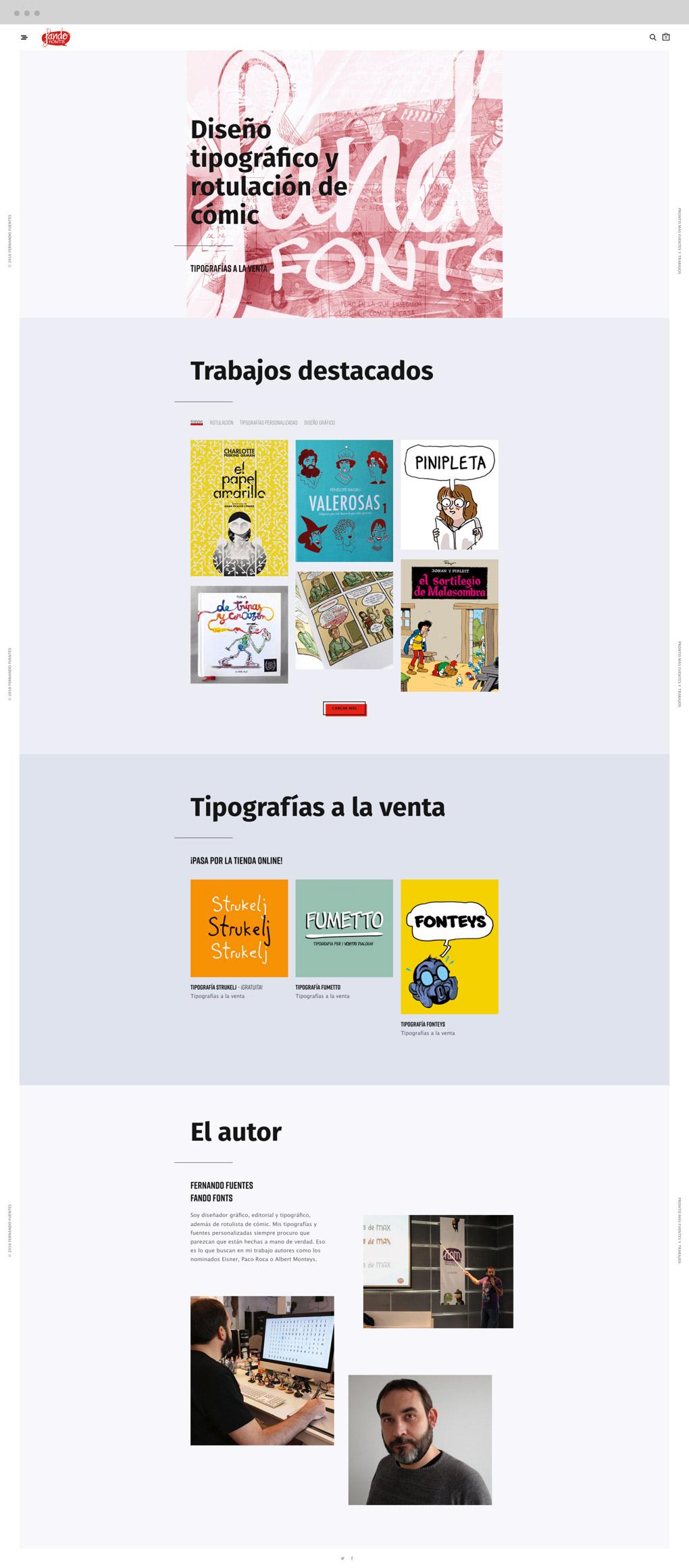 presetnación de diseño de home de diseño de tienda online de tipografías