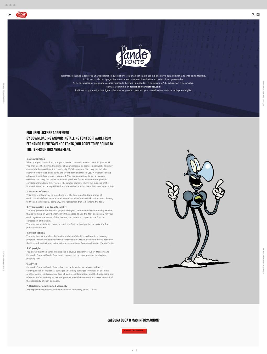 presentación diseño condiciones de descarga e-commerce Fando Fonts en ipad