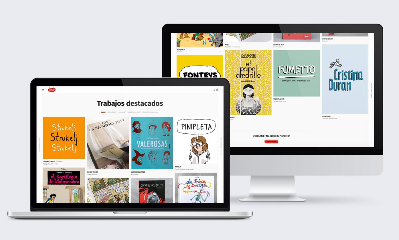 presentación diseño e-commerce Fando Fonts en desktop y laptop sección portfolio