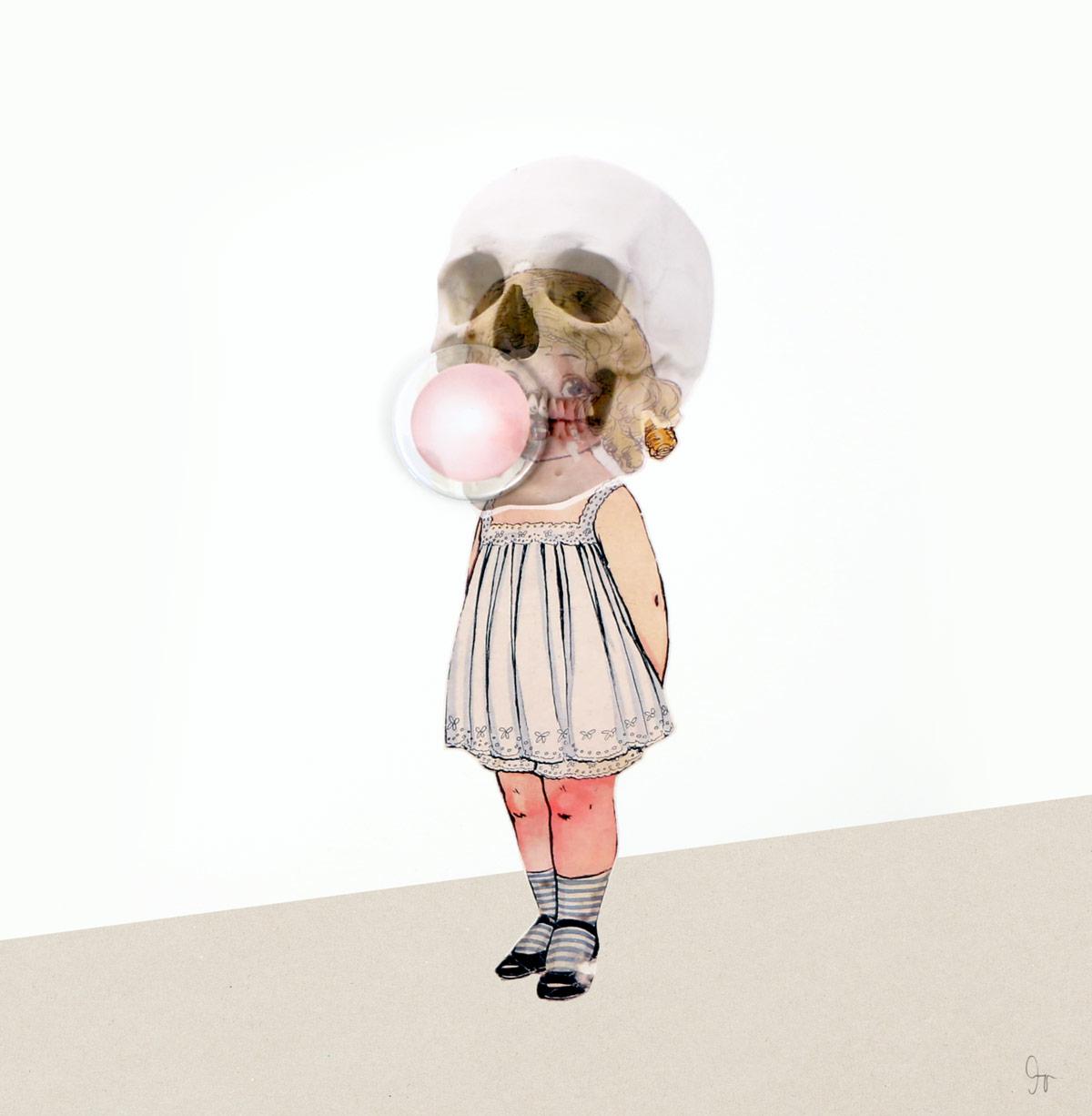 lámina de collage de Amaya Oyón niña chicle