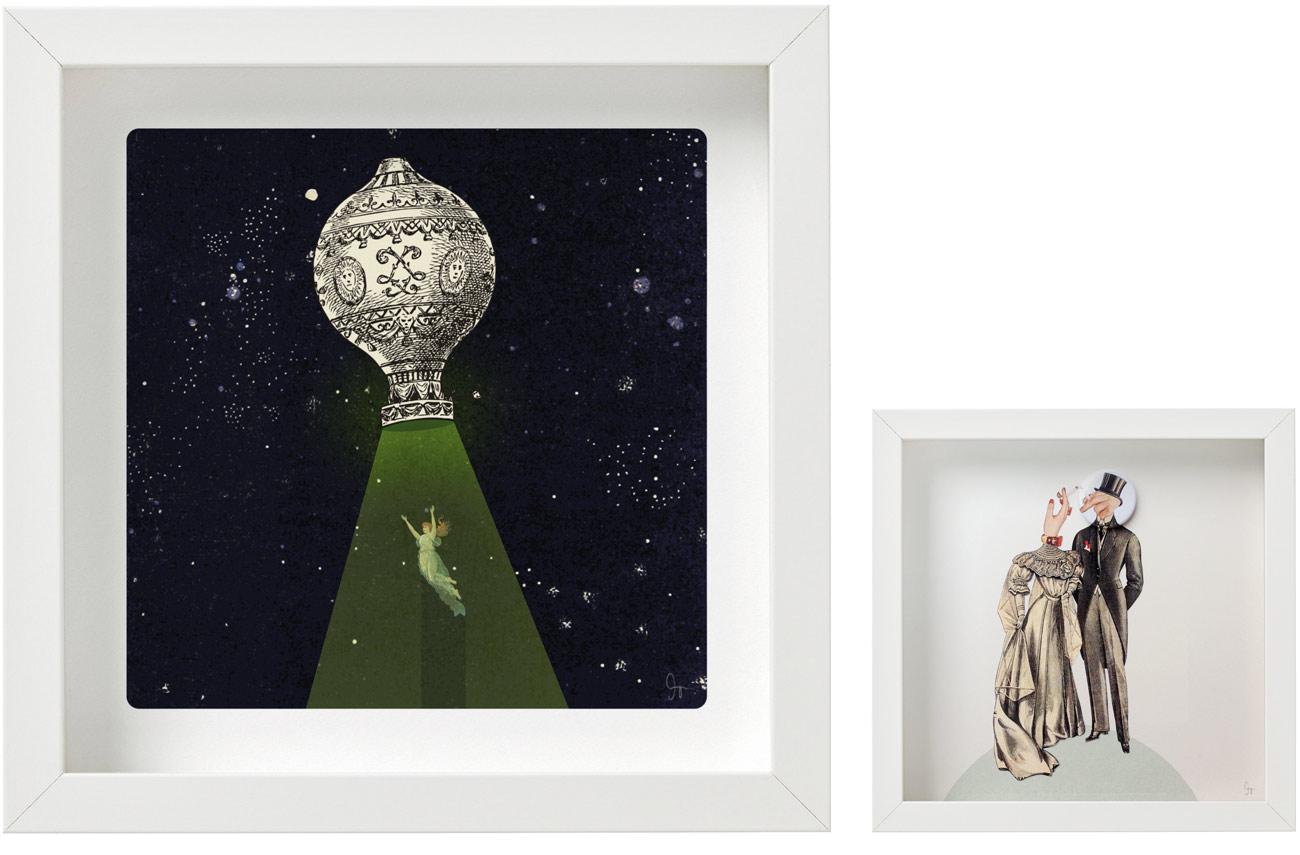 Laminas de la coleccion collages Semantica visual de Amaya Oyón presentación de 2 cuadros