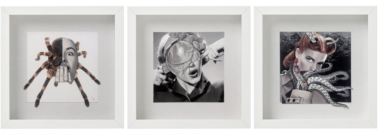 Laminas de la coleccion Semantica visual de Amaya Oyón presentación de 3 cuadros serie mujer
