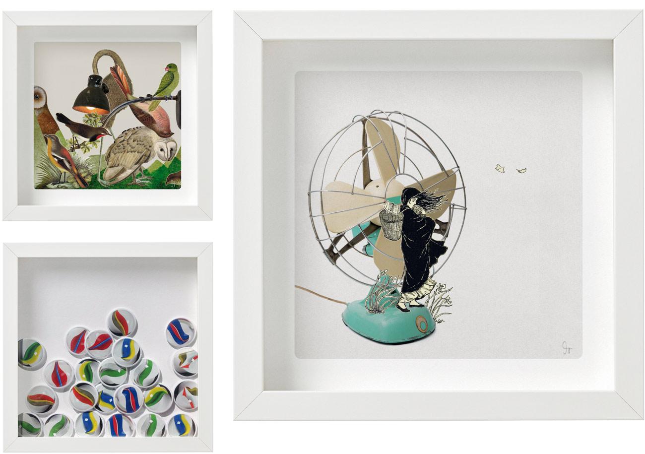 Laminas de la coleccion Semantica visual de Amaya Oyón presentación de 3 cuadros