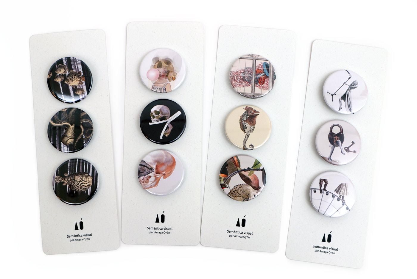 colección de chapas de collages de Amaya Oyón