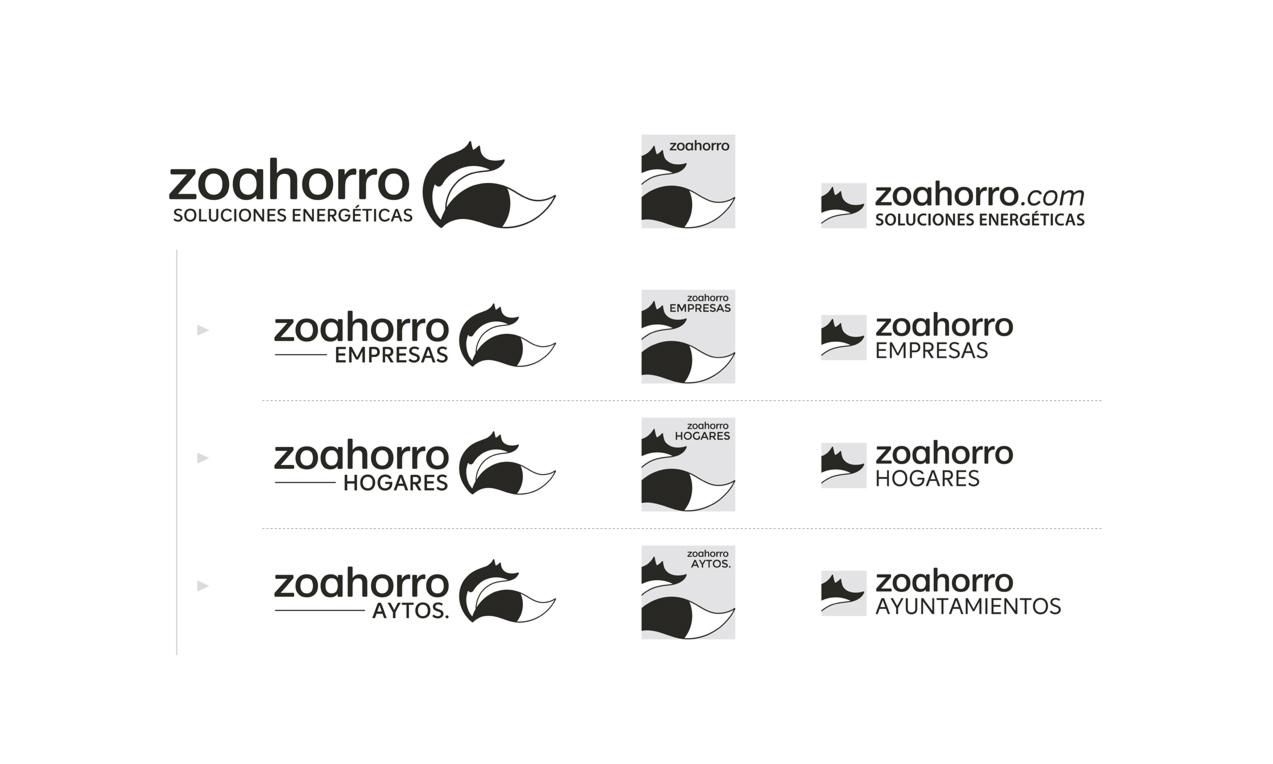 presentación de proceso de diseño de logotipo responsivo versión en blanco y negro para asesoría energética