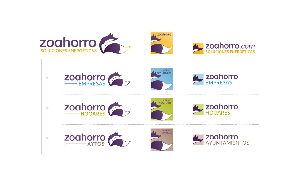 presentación de proceso de diseño de logotipo responsivo versión en color para asesoría energética
