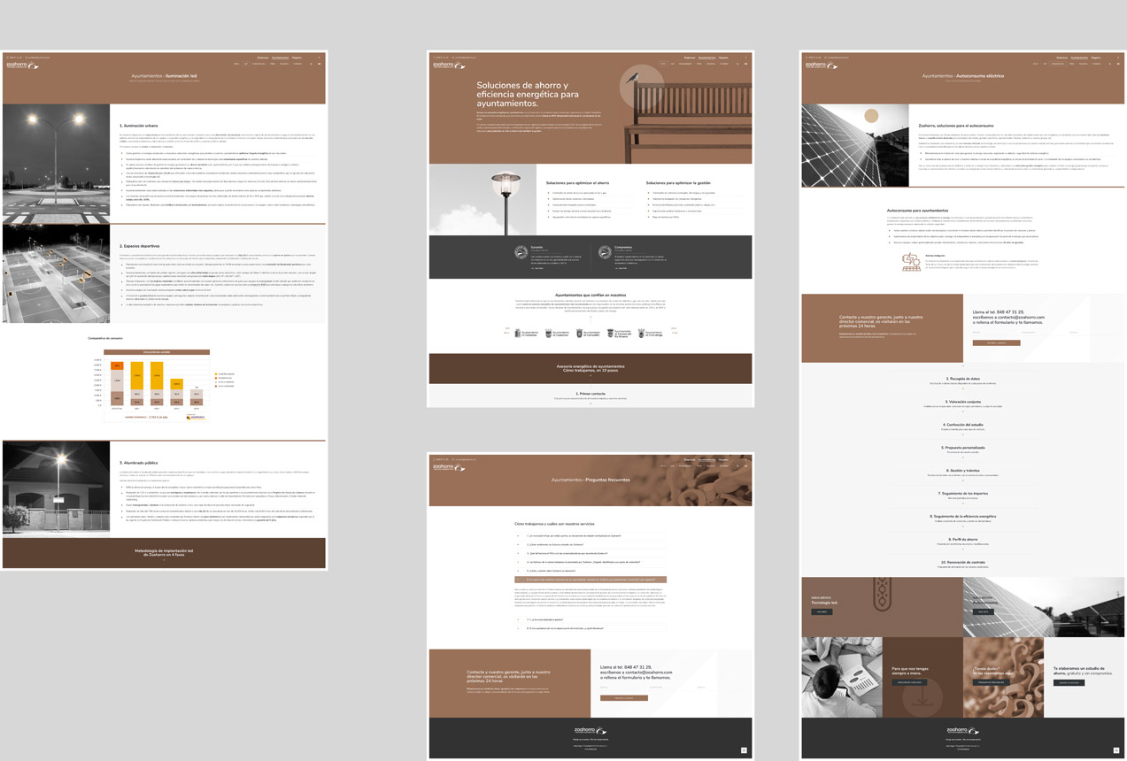 presentación de varias pantallas de diseño web para asesoría energética de ayuntamientos