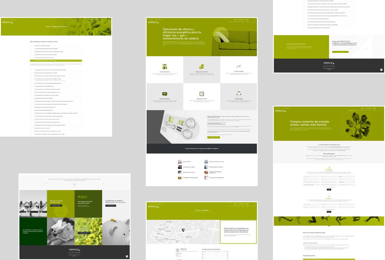 presentación de varias pantallas de diseño web para asesoría energética de hogares